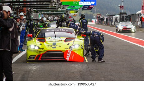 Circuit de Spa-Francorchamps, Belgium, 3 May 2019. Friday practice WEC Total 6 Hours of Spa. Aston Martin Vantage AMR pit stop.