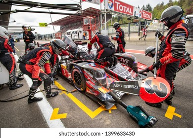 Circuit de Spa-Francorchamps, Belgium, 3 May 2019. Friday practice WEC Total 6 Hours of Spa. Rebellion Racing LMP1 pit stop.