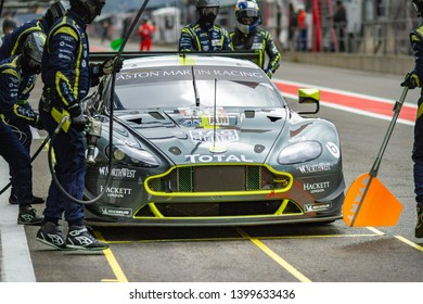 Circuit de Spa-Francorchamps, Belgium, 3 May 2019. Friday practice WEC Total 6 Hours of Spa. Aston Martin Vantage pit stop.