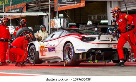 Circuit de Spa-Francorchamps, Belgium, 3 May 2019. Friday practice WEC Total 6 Hours of Spa. MR Racing Ferrari 488 pit stop.