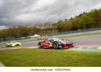 Circuit de Spa-Francorchamps, Belgium May 4 2019. Clearwater Racing Ferrari 488 ahead of an Aston Martin into Les Combes chicane. WEC Total 6 Hours of Spa-Francorchamps