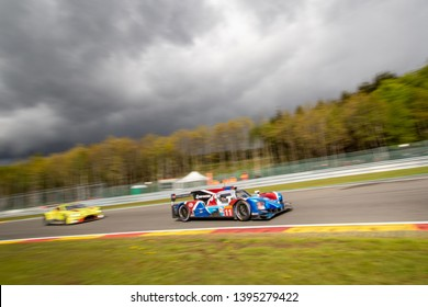 Circuit de Spa-Francorchamps, Belgium May 4 2019. SMP Racing leads an Aston Martin into Les Combes chicane. WEC Total 6 Hours of Spa-Francorchamps 2019. The SMP Racing LMP1 was 3rd overall.
