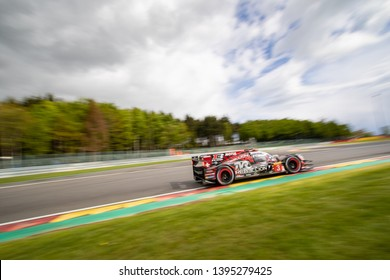 Circuit de Spa-Francorchamps, Belgium May 4 2019. Rebellion Racing LMP1 car heads into Les Combes chicane, WEC Total 6 Hours of Spa. This car was 2nd overall.