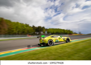 Circuit de Spa-Francorchamps, Belgium May 4 2019. Aston Martin Vantage heads into les Combes chicane. WEC Total 6 Hours of Spa-Francorchamps. This car was 1st in LMGTE Pro category.
