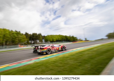 Circuit de Spa-Francorchamps, Belgium May 4 2019. AF Corse Ferrari 488 races a Porsche 911 into Les Combes chicane . WEC Total 6 Hours of Spa. The Ferrari was Second in LMGTE Pro category.