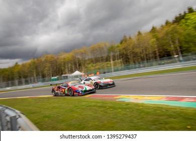 Circuit de Spa-Francorchamps, Belgium May 4 2019. AF Corse Ferrari 488 races a Porsche 911 into Les Combes . WEC Total 6 Hours of Spa-Francorchamps. The Ferrari was 3rd in LMGTE Pro category.