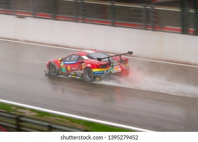 Circuit de Spa-Francorchamps, Belgium May 4 2019. AF Corse Ferrari 488 heads to Eau Rouge in the rain. WEC Total 6 Hours of Spa.