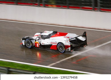 Circuit de Spa-Francorchamps, Belgium May 4 2019. Toyota LMP1 Hybrid heads towards Eau Rouge in the rain. WEC Total 6 Hours of Spa. This car was the overall winner.