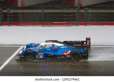 Circuit de Spa-Francorchamps, Belgium May 4 2019. Signatech Alpine Matmut LMP2 heads towards Eau Rouge in the rain. WEC Total 6 Hours of Spa. This car was 3rd in the LMP2 category.