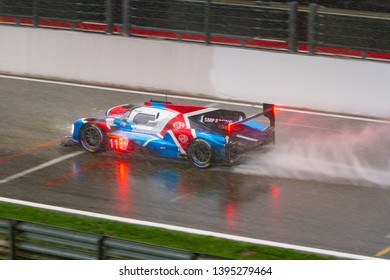 Circuit de Spa-Francorchamps, Belgium May 4 2019. SMP Racing LMP1 heads to Eau Rouge in the rain. WEC Total 6 Hours of Spa. This car was 3rd overall.