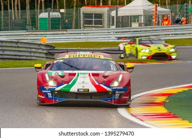 Circuit de Spa-Francorchamps, Belgium May 4 2019. AF Corse Ferrari 488 ahead of other cars at Les Combes chicane. WEC Total 6 Hours of Spa.