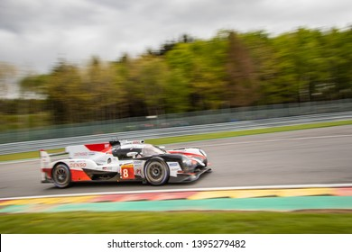 Circuit de Spa-Francorchamps, Belgium May 4 2019. Toyota Hybrid LMP1 at Les Combes, WEC Total 6 Hours of Spa. This car was the overall winner.