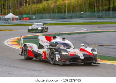 Circuit de Spa-Francorchamps, Belgium May 4 2019. Toyota LMP1 Hybrid ahead of an Aston Martin Vantage at Les Combes chicane. WEC Total 6 Hours of Spa. This car was the overall winner.