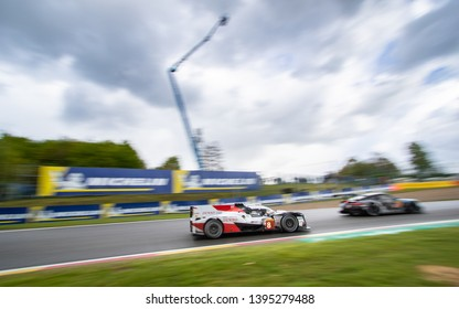 Circuit de Spa-Francorchamps, Belgium May 4 2019. Toyota Hybrid LMP1 follows a Porsche into Malmedy. WEC Total 6 Hours of Spa. This car was the overall winner.
