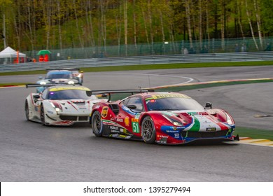 Circuit de Spa-Francorchamps, Belgium May 4 2019. AF Corse Ferrari 488 ahead of other cars at Les Combes chicane. WEC Total 6 Hours of Spa. This car, number 51, was 2nd in LMGTE Pro category.