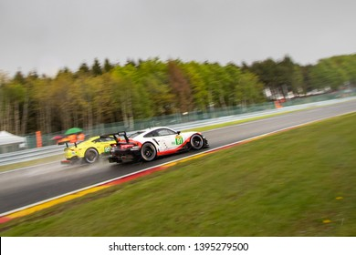 Circuit de Spa-Francorchamps, Belgium May 4 2019. Porsche and Aston Martin Vantage go head-to-head into Les Combes chicane. WEC Toatal 6 Hours of Spa-Francorchamps.