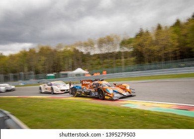 Circuit de Spa-Francorchamps, Belgium May 4 2019. G-Drive Racing LMP2 car followed by a Ferrari into Les Combes chicane, WEC Total 6 Hours of Spa-Francorchamps.
