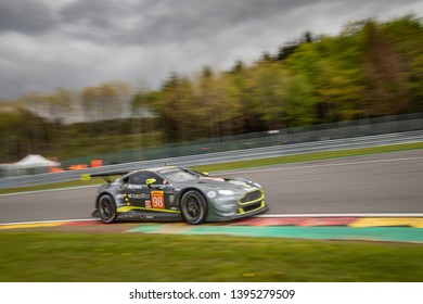 Circuit de Spa-Francorchamps, Belgium May 4 2019. Aston Martin Vantage heads into Les Combes chicane, WEC Total 6 Hours of Spa-Francorchamps.