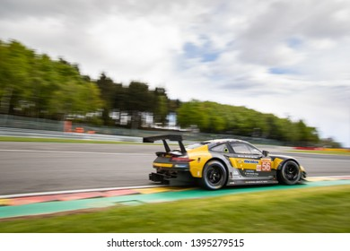 Circuit de Spa-Francorchamps, Belgium May 4 2019. Team Project 1 Porsche 911 heads into Les Combes chicane, WEC Total 6 Hours of Spa-Francorchamps.