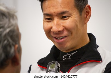 Circuit de Spa-Francorchamps, Belgium, May 3 2019. Kamui Kobayashi interviewed by the press. Post qualifying press conference for the Total 6 Hours of Spa.