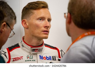 Circuit de Spa-Francorchamps, Belgium, May 3 2019. Mike Conway interviewed by the press. Post qualifying press conference for the Total 6 Hours of Spa.