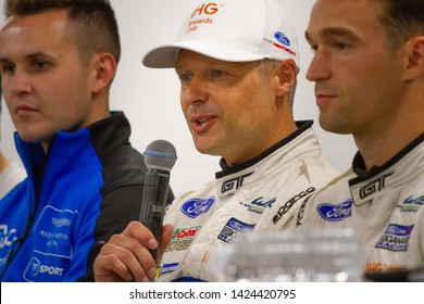 Circuit de Spa-Francorchamps, Belgium, May 3 2019. Andy Priaulx interviewed by the press. Post qualifying press conference for the Total 6 Hours of Spa.