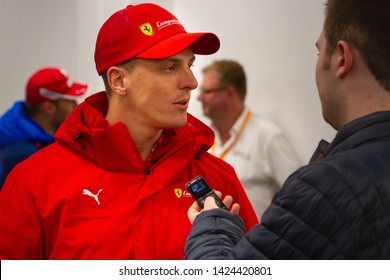 Circuit de Spa-Francorchamps, Belgium, May 3 2019. James Calado interviewed by the press. Post qualifying press conference for the Total 6 Hours of Spa.