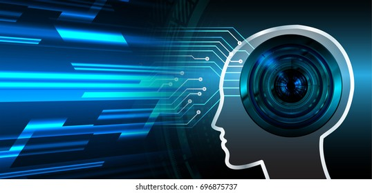 circuit future technology, blue cyber security concept background, abstract hi speed digital internet.motion move blur. pixel. brain head