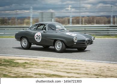 Circuit of Jarama, Madrid, Spain; April 03 2016: Alfa Romeo Giulia SS in a classic car race at the Jarama circuit