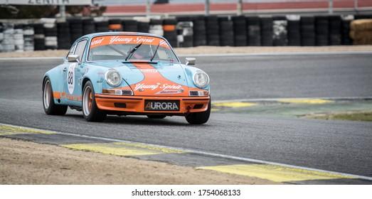 Circuit of Jarama, Madrid, Spain; April 03 2016: Porsche 911 Carrera 3.0 RS in a classic cars race