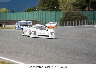 Circuit of Jarama, Madrid, Spain; April 03 2016: 1988 Argo JM19C Group C racer in a classic car race at the Jarama circuit