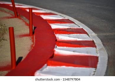 Circuit kerbs on the corner.