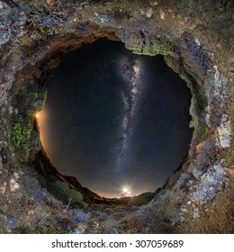 Circular 360 degrees panoramic view of starry night sky with milky way and lighthouse of Capo Spartivento