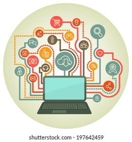 Circular background with a laptop connected to the Internet and web interaction icons in retro colors