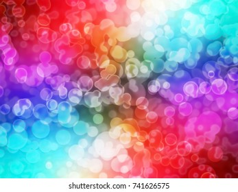 circular bokeh background, multicolor abstract, festival or carnival light with blurred and defocused, colorful illustration
