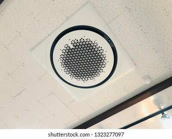 Circular cooler installed on ceiling of cafe,  Round Air Conditioner