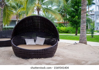 Circular daybed on the beach