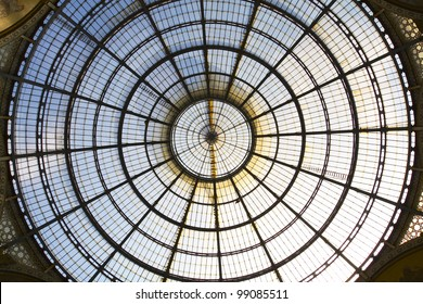 Circular domed Galleria Vittorio Emanuele, Milan, Italy