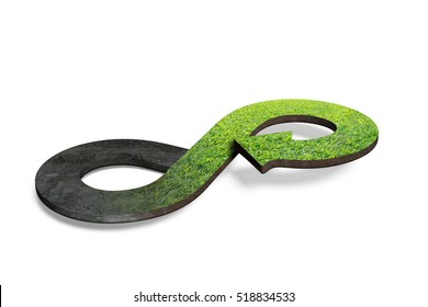 Circular economy concept. Arrow infinity symbol with grass, isolated on white background, 3D rendering.
