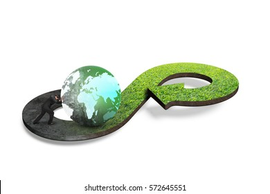 Circular economy concept. Arrow infinity symbol of grass texture with man pushing globe, isolated on white background.