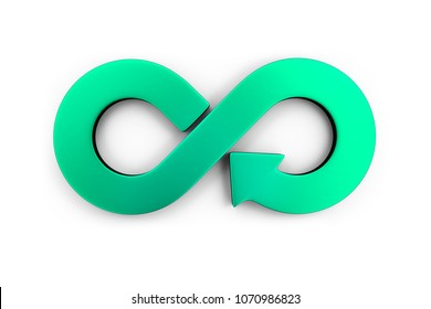 Circular economy concept. Green arrow infinity symbol, isolated on white background, 3D illustration.