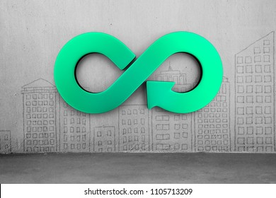 Circular economy concept. Green arrow infinity symbol on city buildings doodles concrete wall background.