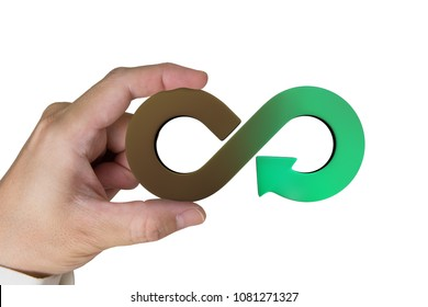 Circular economy concept. Hand holding brown green arrow infinity recycling symbol, isolated on white background.