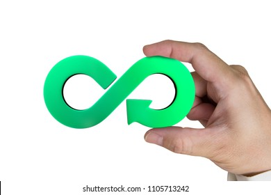 Circular economy concept. Hand holding green arrow infinity recycling symbol, isolated on white background.