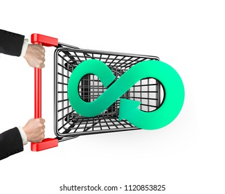 Circular economy concept. Hand holding shopping cart to carry green arrow infinity symbol, isolated on white background.