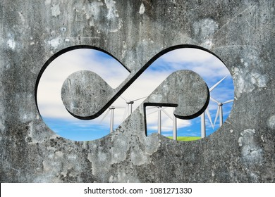 Circular economy concept. Infinity recycling symbol hole with view of blue sky wind turbines on old dirty concrete wall.