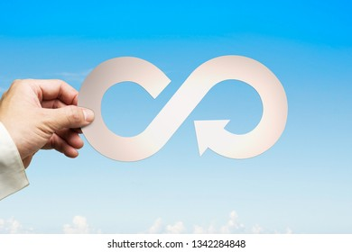 Circular economy concept. Man's hand holding sheet metal arrow infinity recycling symbol, on blue sky background.