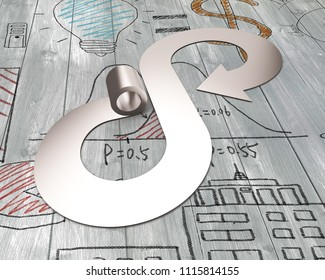 Circular economy concept. Metal roller and arrow infinity recycling symbol, on business concept doodles wooden floor background.