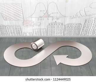 Circular economy concept. Metal roller and arrow infinity recycling symbol on wooden floor, with business concept doodles wood wall background.