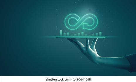 Circular economy with infinite concept. Business man showing arrow infinity symbol with neon light and dark background. Graph showing the earnings, profits of business shares in good feedback.
